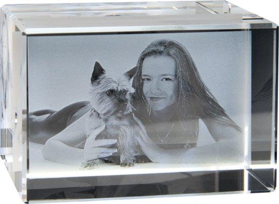 2D Foto in hoogwaardig glas. Afm: 60 x 35 x 35 mm. Liggend formaat