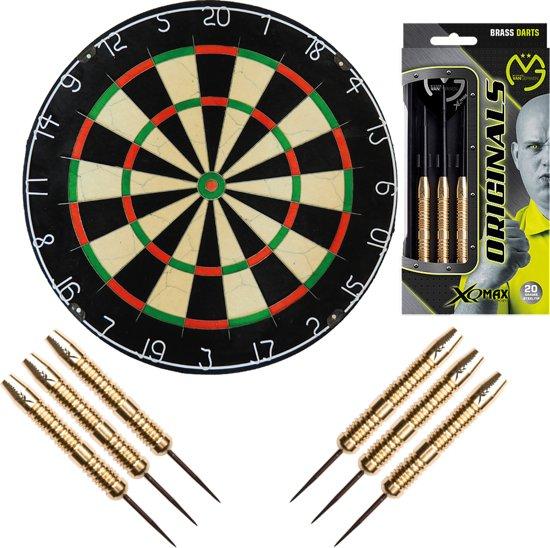Michael van Gerwen dartset – 2 sets 100% Brass - dartpijlen – inclusief Best geteste A-Merk - dartbord