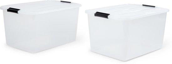 IRIS Topbox Opbergbox - 45L - Kunststof - Transparant - 2 Stuks