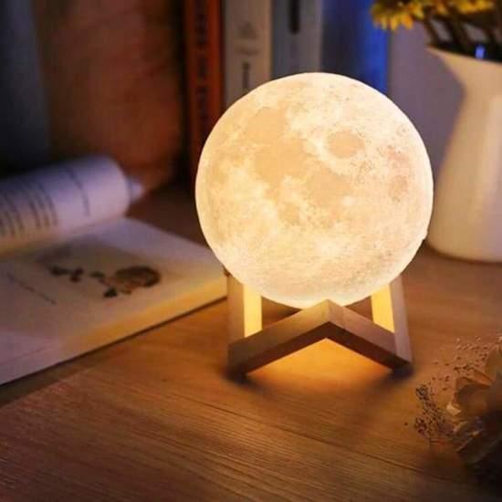 Impaqt Maan Lamp Tafellamp op houten standaard - 13 cm - USB oplaadbaar