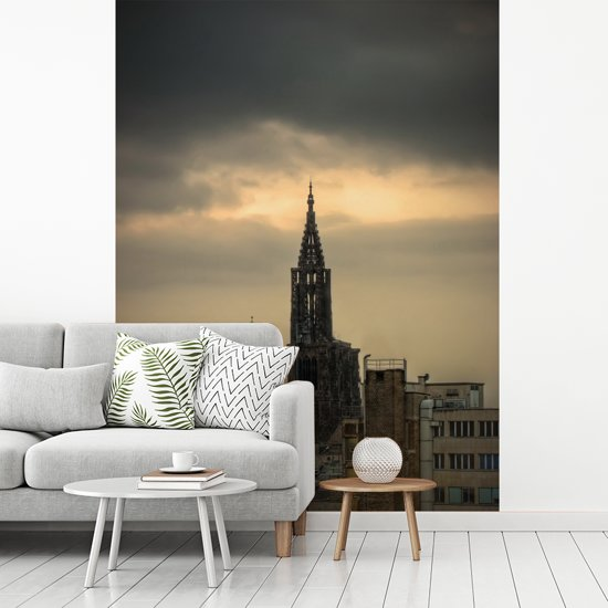 Fotobehang vinyl - Zicht op de kathedraal in de Franse stad Straatsburg breedte 250 cm x hoogte 340 cm - Foto print op behang (in 7 formaten beschikbaar)