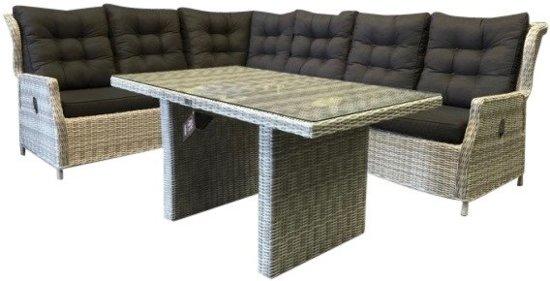 Bol ibiza hoek dining loungeset verstelbaar delig wit grijs