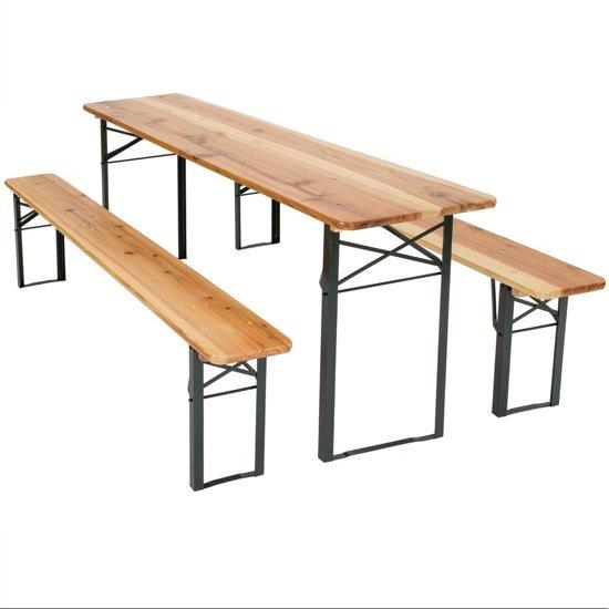 Tectake - Biertafel met banken - Dennenhout - Bruin