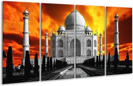 Glasschilderij Taj Mahal | Oranje, Zwart, Grijs | 160x80cm 4Luik | Foto print op Glas |  F002398