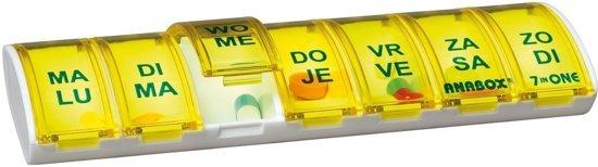 Anabox weekbox Geel   Medicijndoosje   Handig en praktisch