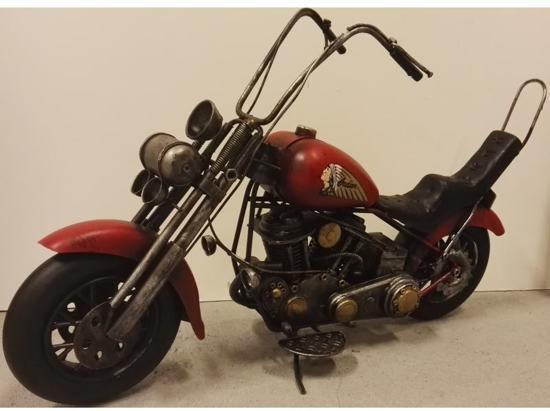 Motor Rode Indian Chopper van blik - blikken motor