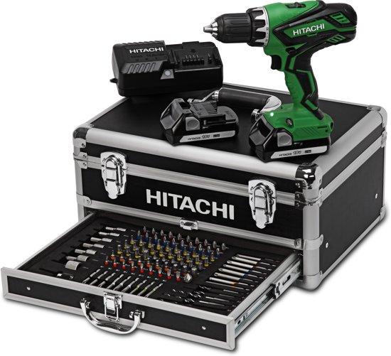 Hitachi accuboormachine  - DS18DJL in aluminium koffer inclusief 100-delige bit-boren-doppenset - 754945