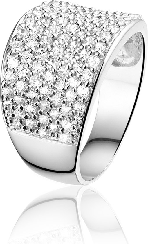 Montebello, zilveren ring met 93 zirkonia, Lindsay, maat 50