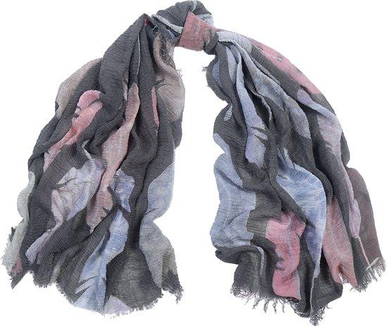 Sjaal grijs/roze met motief van veren