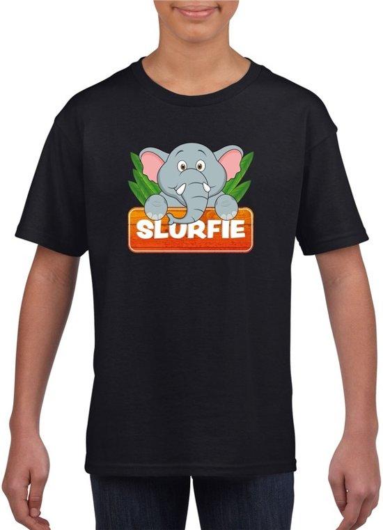 Slurfie de olifant t-shirt zwart voor kinderen - unisex - olifanten shirt L (146-152)