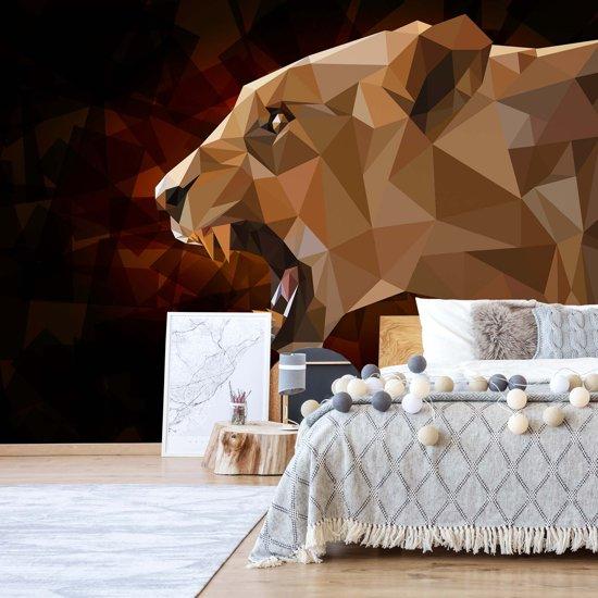 Fotobehang Polygon Lioness Dark Colours   VEXL - 208cm x 146cm   130gr/m2 Vlies