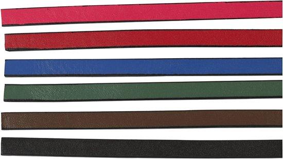 Leerband van imitatieleer - Assortiment, b: 10 mm, kleuren assorti, 6x1 m