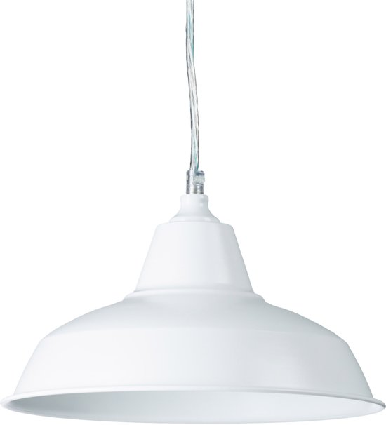 relaxdays hanglamp wit industrie plafondlamp, pendellamp, witte lampenkap