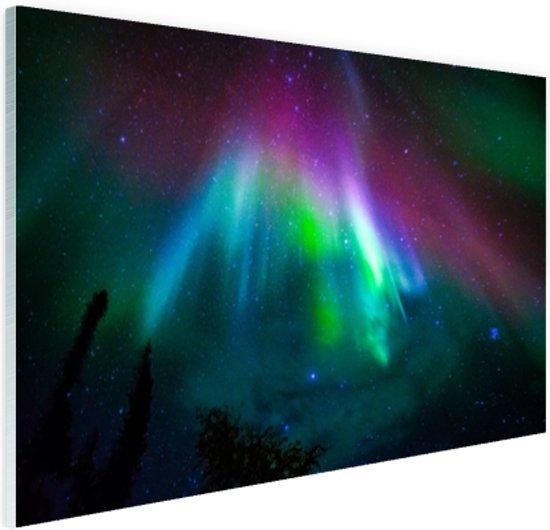 Felle kleuren noorderlicht Glas 60x40 cm - Foto print op Glas (Plexiglas wanddecoratie)