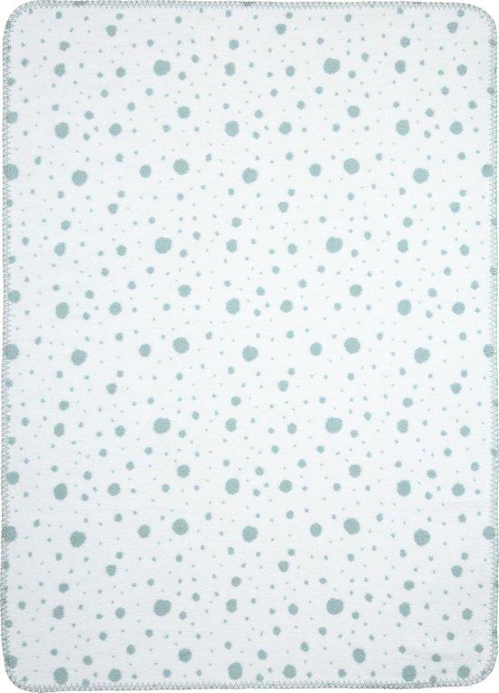 Meyco Dots Ledikantdeken - 120x150cm - stone green/wit