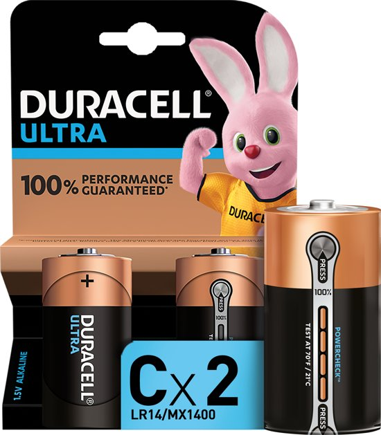 Duracell Ultra Power alkaline C-batterijen - 2 stuks