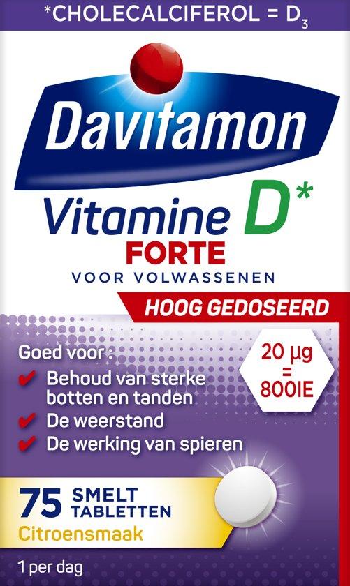 Davitamon Vitamine D3 - Supplement - Forte Smelttablet 75 stuks - Voedingssupplement