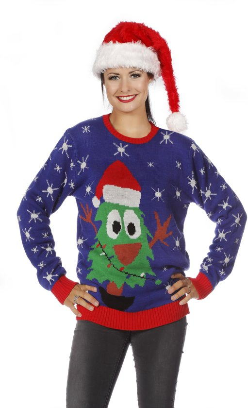 Foute kersttrui blauw met kerstboom voor volwassenen