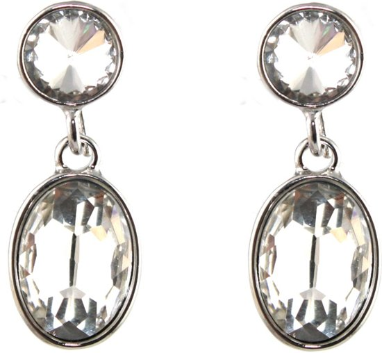 Mooie ovale oorhangers Crystal - Ovaal - Oorbellen - Earrings White 6x2cm - Wit - Musthaves