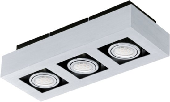 EGLO Loke 1 - Opbouwlamp - 3 Lichts - Aluminium-Geborsteld, Chroom, Zwart