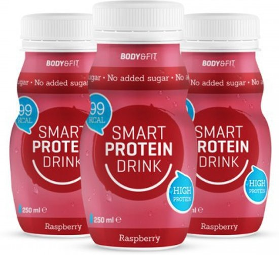 Body & Fit Smart Protein Drinks - 16g eiwit per flesje - 1 tray (6 stuks) - Raspberry