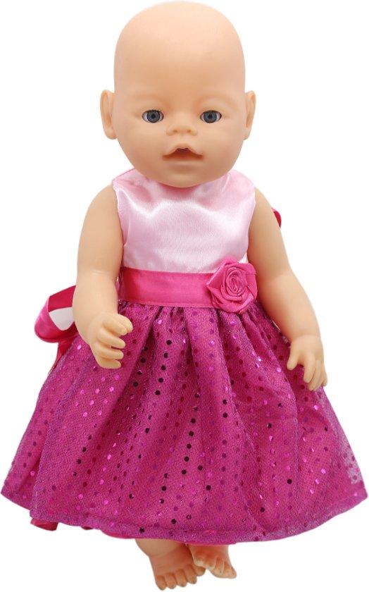 a48f907166d36f Poppenkleertjes - Roze jurkje met pailletten en roosje - Jurk past op poppen  met lengte van