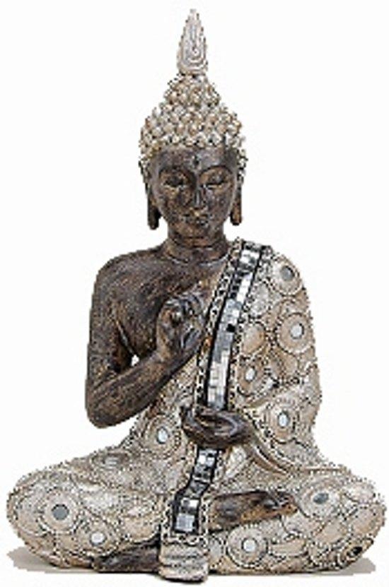 Boeddha beeldje zilver/bruin 27 cm