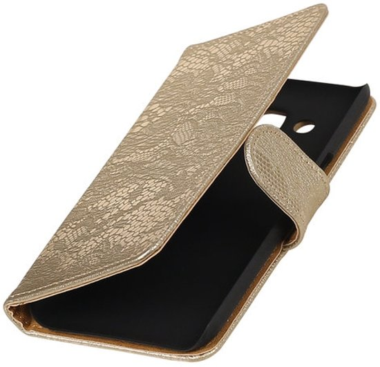 BestCases.nl Goud Lace booktype wallet cover hoesje voor Samsung Galaxy A3 2017 A320F