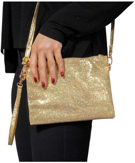 bb24586a94a Toppers - Gouden glitter feest tasje/ schouertasje - Gouden verkleed/  carnaval accessoires