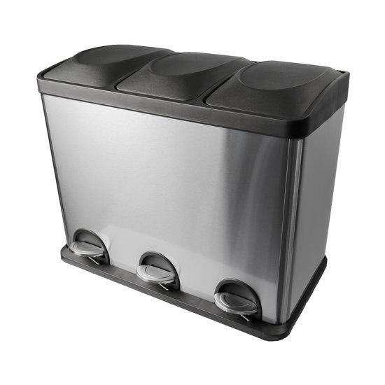 Eko Rejoice Pedaalemmer 3 X 12 Liter.Steeldesign Afvalscheidingsprullenbak 3 X 15 Liter Met Pedaal