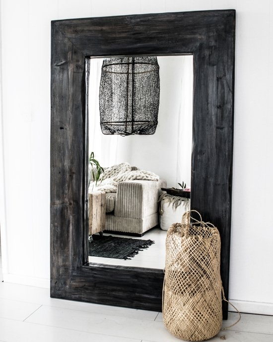 Spiegel Zwarte Lijst.Spiegel Hout Xl Zwart Spiegel Handgemaakt 140 X 88 Cm