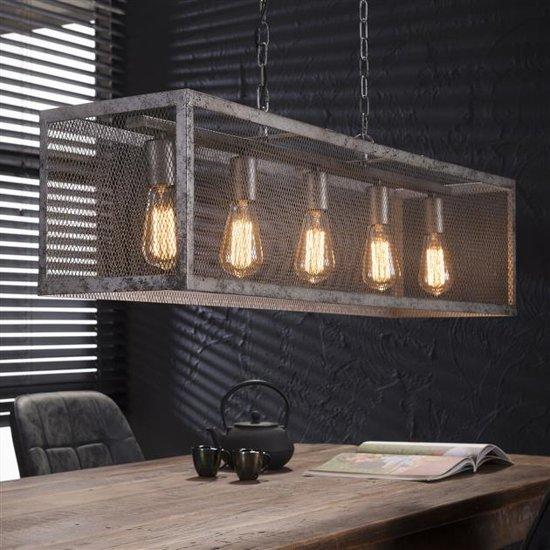 bol | industriële hanglamp rustic raster oud zilver