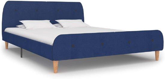 Bedframe Blauw Stof (Incl LW Led klok) 180x200 cm - Bed frame met lattenbodem - Tweepersoonsbed Eenpersoonsbed
