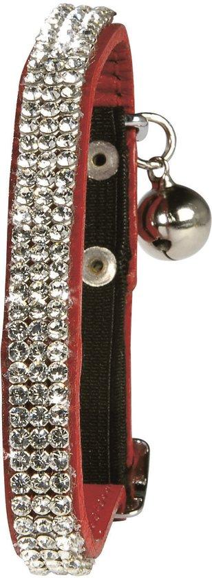 Bobby halsband voor kat leer met swarovski rood 30x1 cm