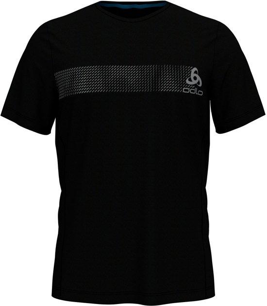 Odlo Bl Top Crew Neck S/S Core Light Print Sportshirt Heren - Black-Placed Print - Maat L