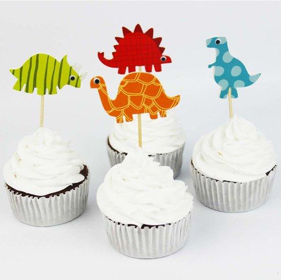 Cocktailprikkers Dino dinosaurus - cocktail prikkertjes cupcake toppers - 12 stuks -