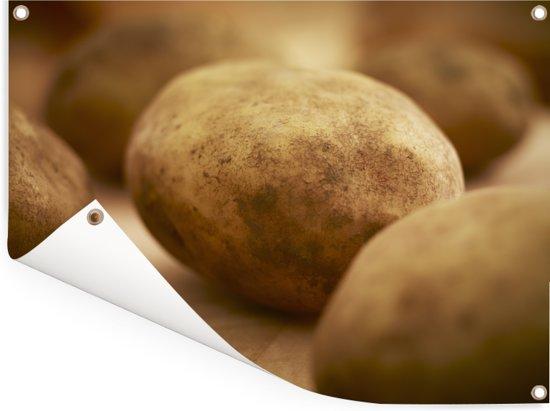 Een aardappel omringd door andere aardappelen Tuinposter 80x60 cm - Tuindoek / Buitencanvas / Schilderijen voor buiten (tuin decoratie)