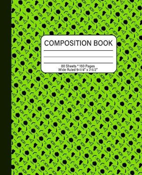Composition Book: Alien Green with Camper Graphics, Wide Ruled and 160 pages of lined writing area, Great for All ages and school grades