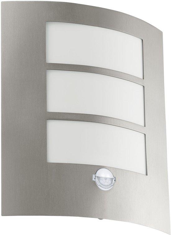 EGLO City - Buitenverlichting - Wandlamp Met Sensor - 1 Lichts - RVS - Wit