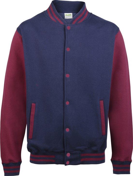 AWDis Varsity jacket, Oxford Navy/Burgundy, Maat M