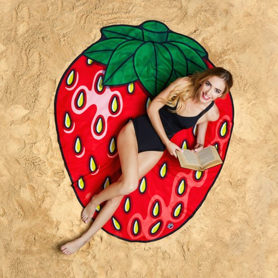 Aardbei strandlaken – Beach Blanket Strawberry - Big Mouth badlaken - ø 1,5 meter