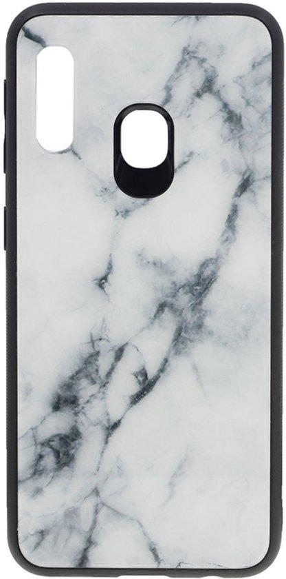 Shop4 - Samsung Galaxy A40 Hoesje - Harde Back Case Marmer Wit
