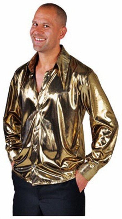 Goud metallic overhemd voor heren 64-66 (2xl)