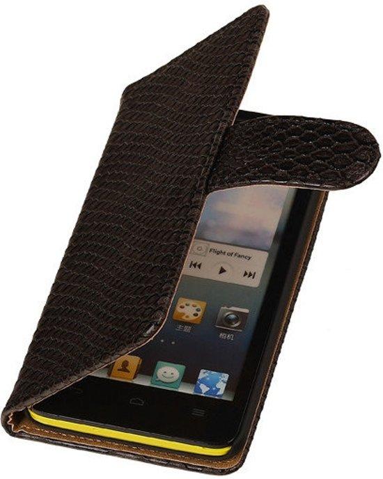 MiniPrijzen -  booktype - bookstyle - Wallet Case - Flip Cover - Book Case Bescherm Hoes Zwart Slang Design Huawei Ascend G510 Telefoonhoesje - Smartphone hoesje in Padhuis