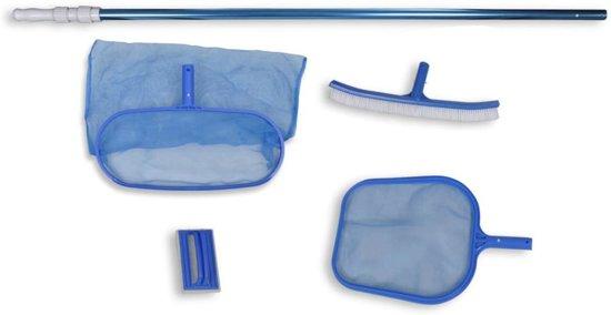 vidaXL Zwembadset - 2 netten, 1 schrobber, borstel + telescopische paal