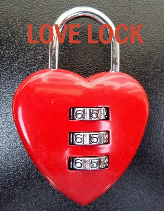 Hartjesslot - Liefdesslot - HartenSlot - Hart - Slot - Cijferslot - Liefde - Valentijn - Love - Rood - Koffer