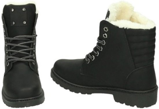 bol | gevoerde veterboots - dames schoenen - zwart - maat 38