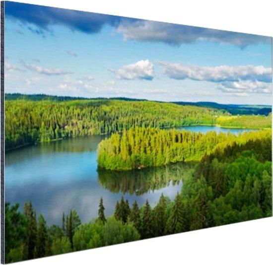Uitzicht op meren  Aluminium 90x60 cm - Foto print op Aluminium (metaal wanddecoratie)