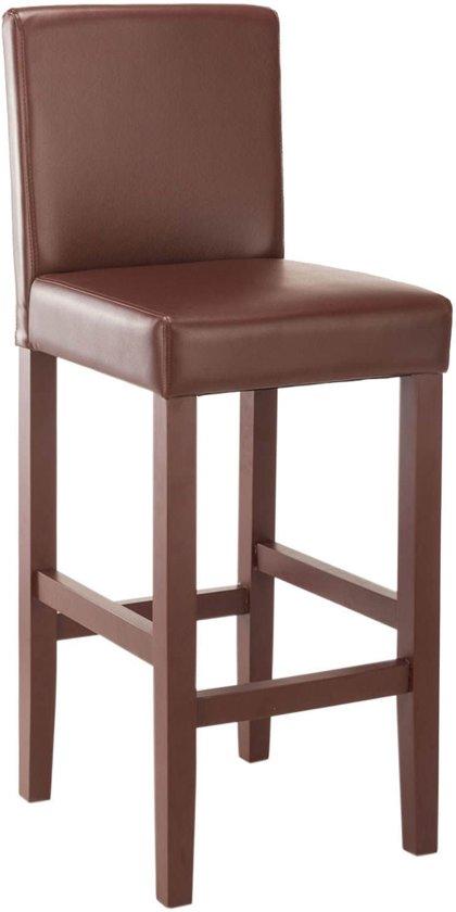 Clp barkruk VENLO met hoge rugleuning en voetsteun, tot 130 kg, bekleding van kunstleer - bruin,