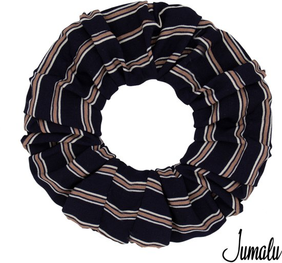 Jumalu sailor scrunchie velvet haarwokkel haarelastiekjes - blauw, roze en wit - 1 stuk